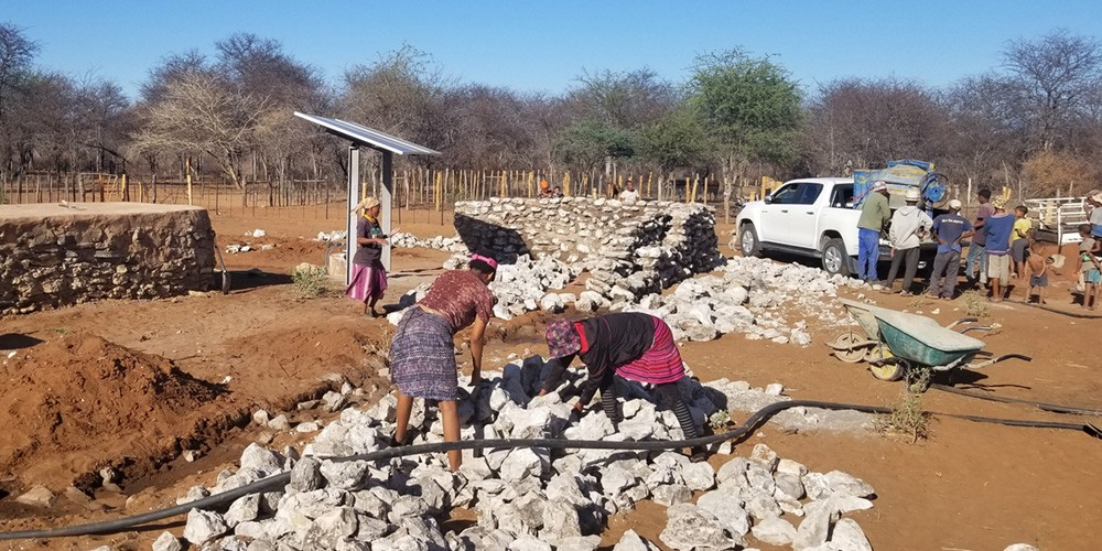 Wall being built to safeguard water points from elephants